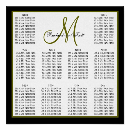 Wedding Seating Chart Poster Fresh Template Wedding Seating Chart Monogram Names Poster