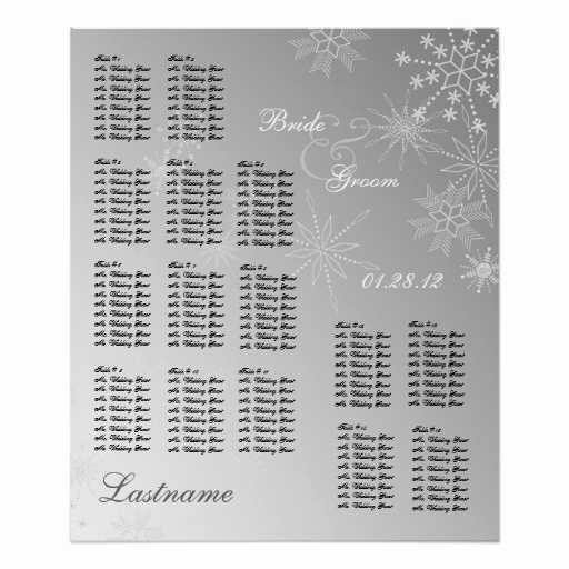 Wedding Seating Chart Poster Inspirational Snowflake Gem Silver Wedding Seating Chart Poster