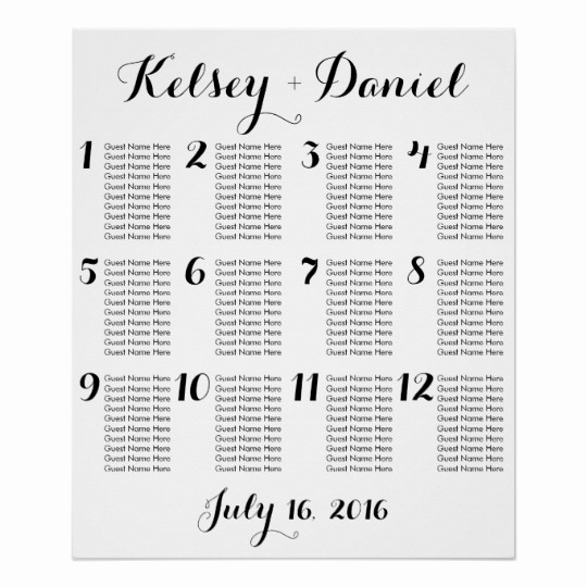 Wedding Seating Chart Poster Lovely Simple Wedding Seating Chart Poster
