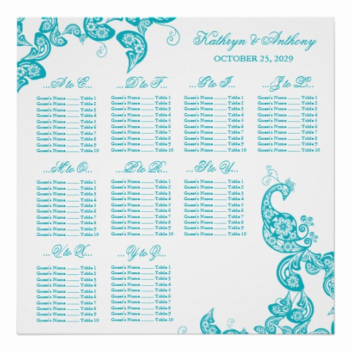 Wedding Seating Chart Poster Lovely Turquoise Paisley Peacock Wedding Seating Chart Posters