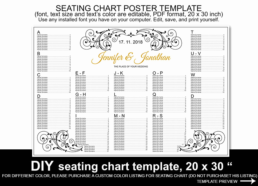 Wedding Seating Chart Poster Lovely Wedding Seating Chart Poster Template Printable Reception