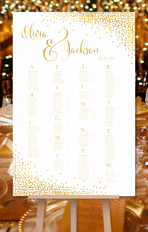 Wedding Seating Chart Poster Template Awesome Wedding Seating Chart Poster Confetti Gold