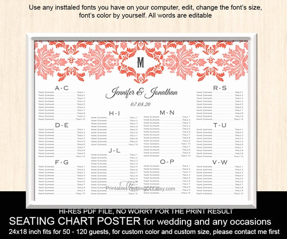 Wedding Seating Chart Poster Template Beautiful Items Similar to Wedding Seating Chart Template Printable
