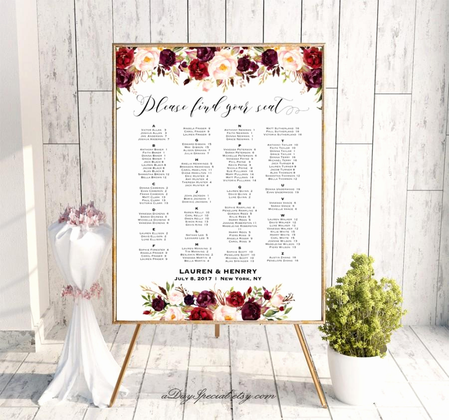 Wedding Seating Chart Poster Template Elegant Burgundy Floral Alphabetical Seating Chart Template