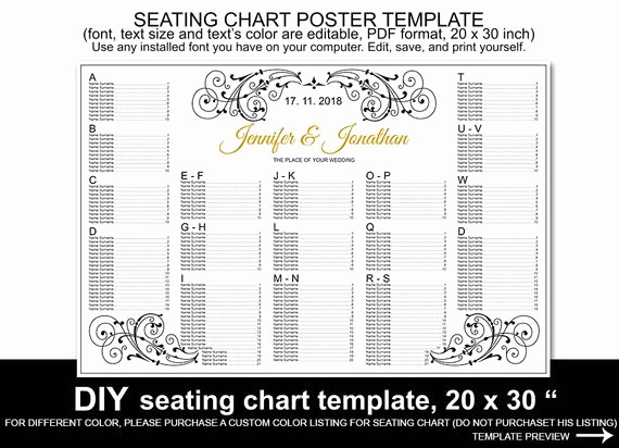 Wedding Seating Chart Poster Template Elegant Wedding Seating Chart Poster Template Printable Reception