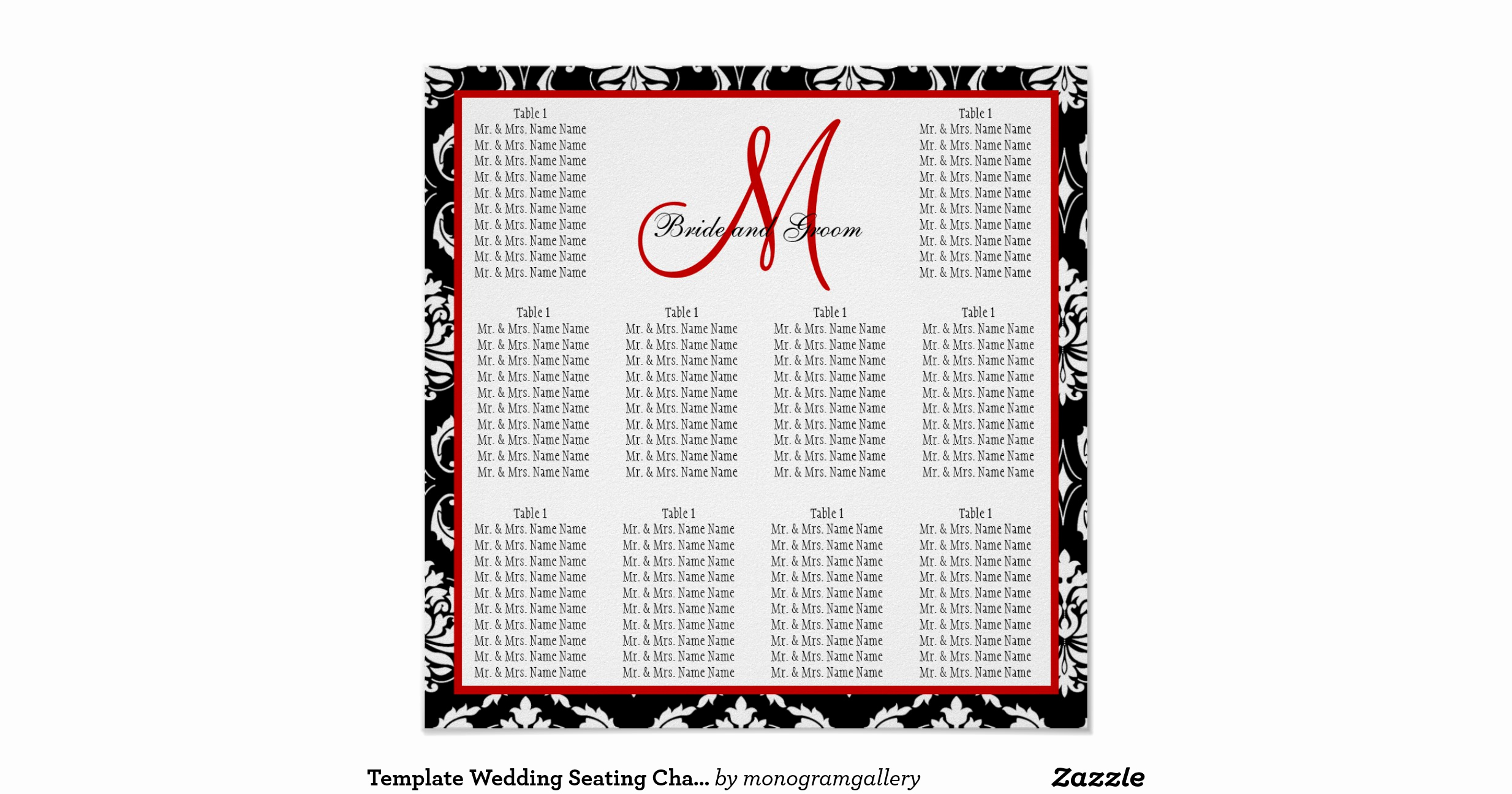 Wedding Seating Chart Poster Template Fresh Template Wedding Seating Chart Damask Red Poster