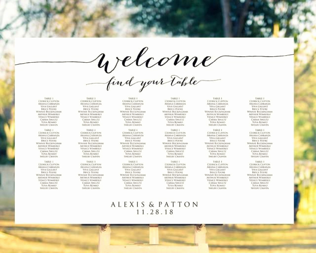 Wedding Seating Chart Poster Template New Wel E Wedding Seating Chart Template In Four Sizes