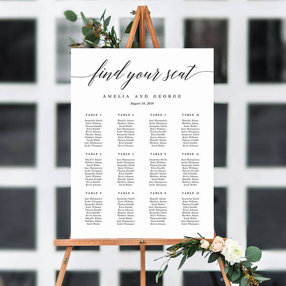 Wedding Seating Chart Poster Template Unique On Sale 7 Sizes Wedding Seating Chart Template Editable