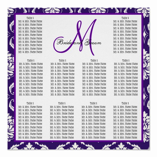 Wedding Seating Chart Poster Template Unique Template Wedding Seating Chart Purple Damask Poster