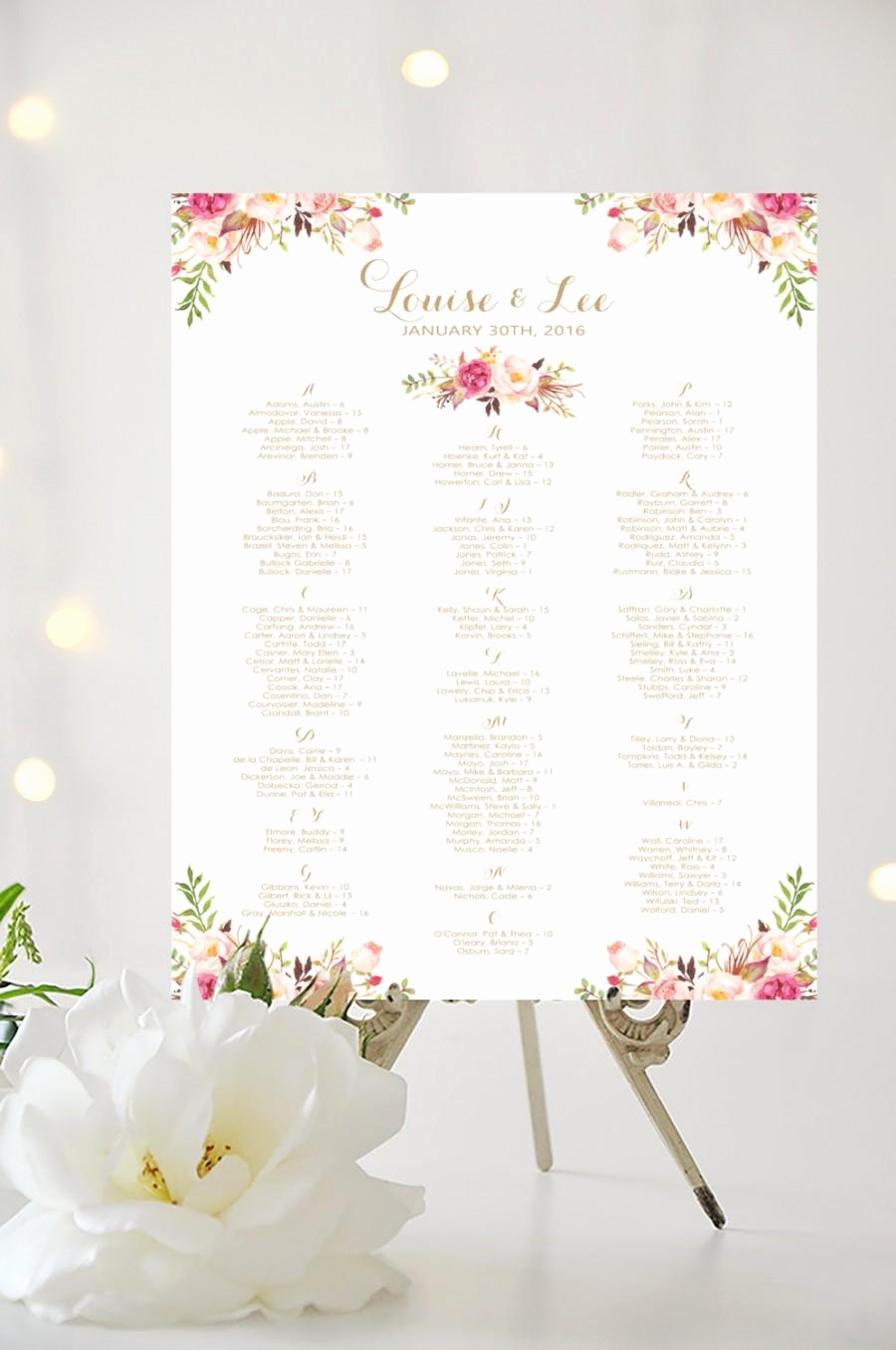 Wedding Seating Chart Poster Template Unique Wedding Seating Chart Alphabetical Poster