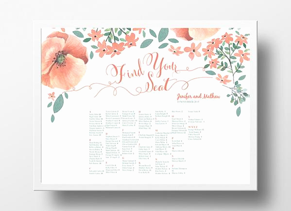 Wedding Seating Chart Poster Template Unique Wedding Seating Chart Landscape Poster Diy