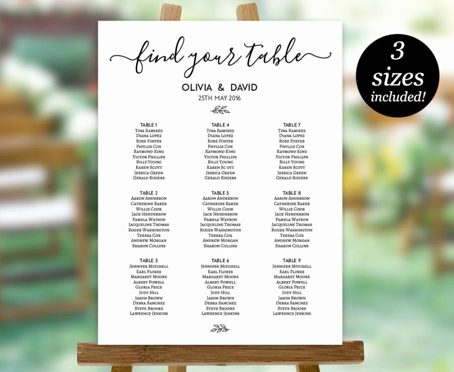 Wedding Seating Chart Poster Template Unique Wedding Seating Chart Template Printable Seating Plan