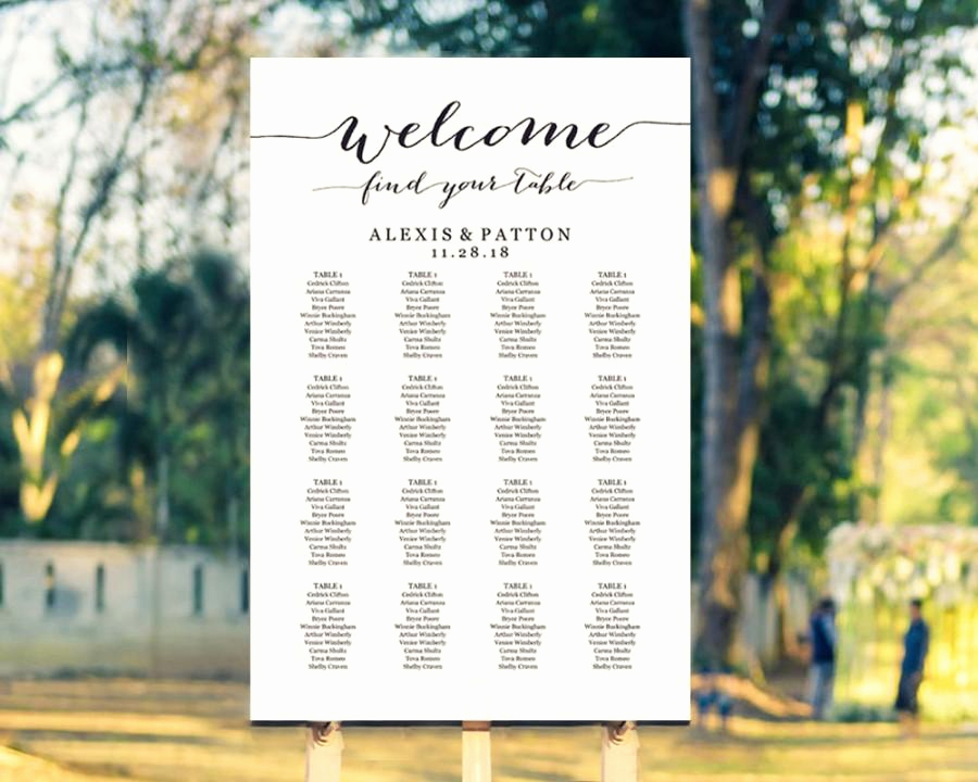 Wedding Seating Chart Poster Template Unique Wel E Wedding Seating Chart Template In Four Sizes Find