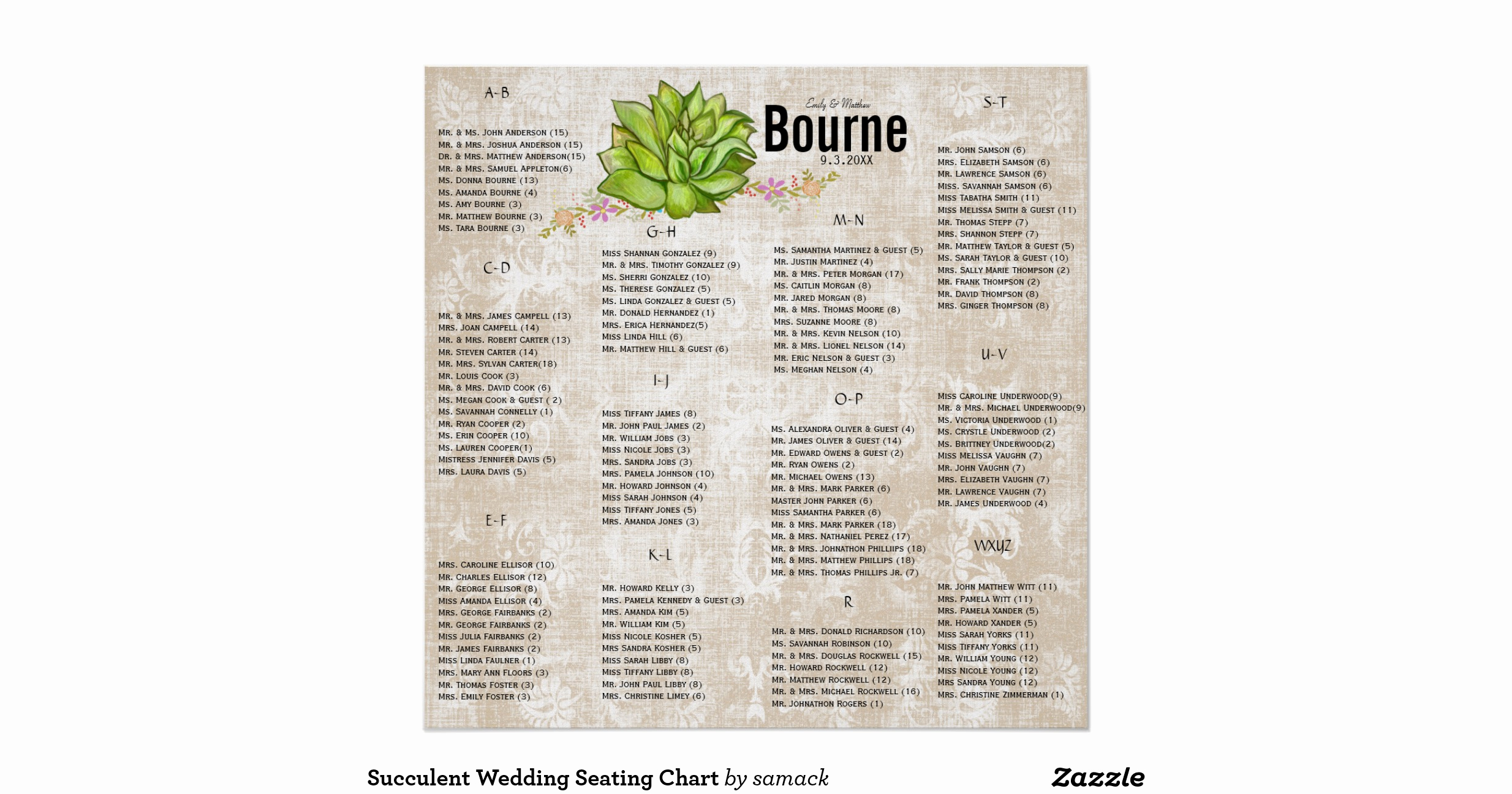 Wedding Seating Chart Poster Unique Succulent Wedding Seating Chart Poster