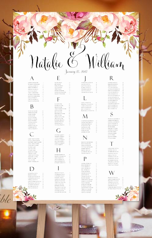 Wedding Seating Chart Poster Unique Wedding Seating Chart Poster Romantic Blossoms Watercolor