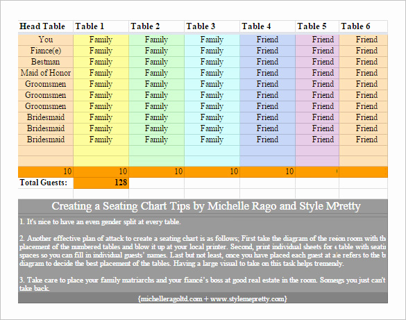 Wedding Seating Chart Template Excel Inspirational Chart Template 61 Free Printable Word Excel Pdf Ppt