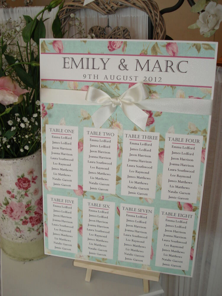 Wedding Table Seating Chart Best Of Country Cottage Shabby Chic A3 Wedding Table Seating Plan