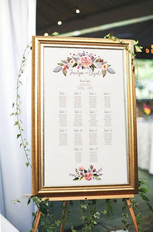 Wedding Table Seating Chart Elegant Floral Wedding Seating Chart Printable Seating Chart