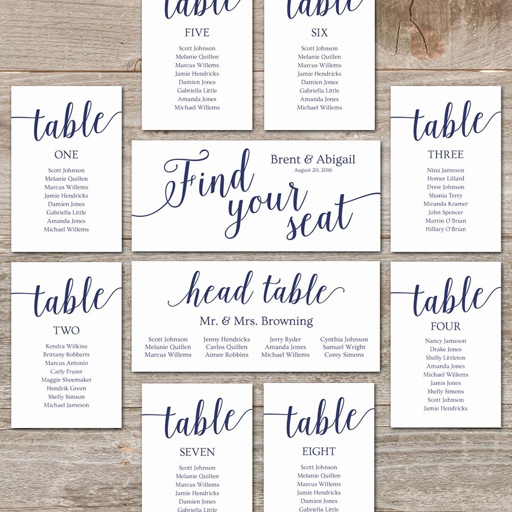 Wedding Table Seating Chart Elegant Navy Seating Chart Template Wedding Seating Chart Cards