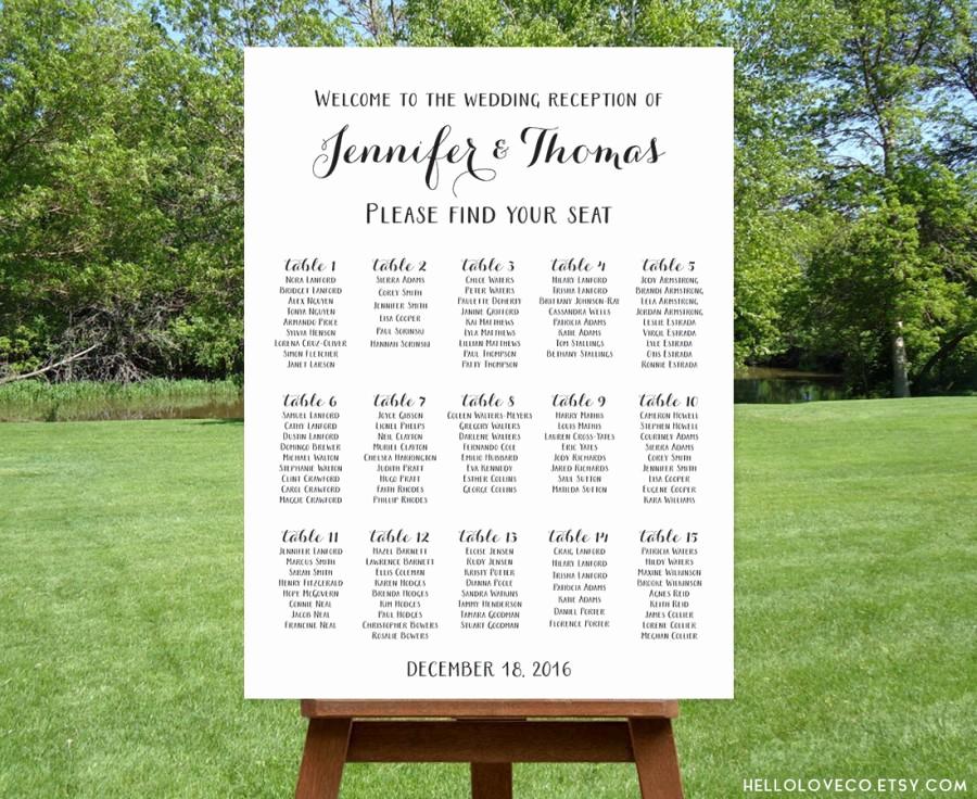 Wedding Table Seating Chart Elegant Printable Wedding Seating Chart Black & White