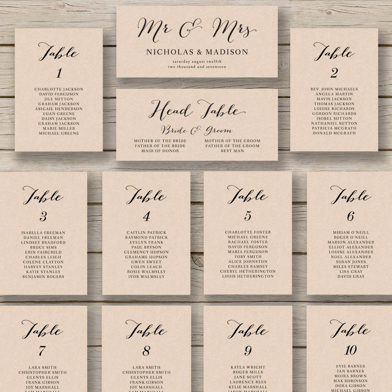 Wedding Table Seating Chart Fresh Wedding Seating Chart Template Printable by