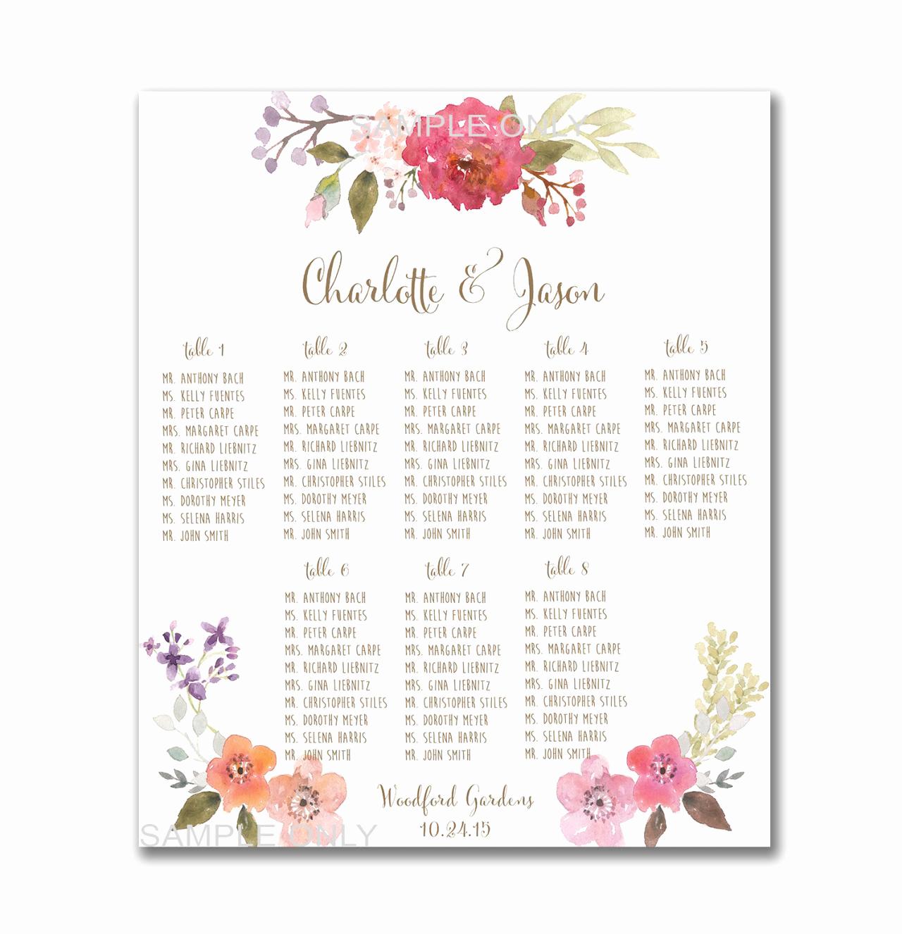 Wedding Table Seating Chart Fresh Wedding Table Seating Chart Printable 50 130 Guests