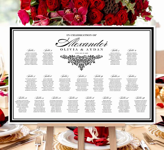 Wedding Table Seating Chart Inspirational Wedding Seating Chart Poster Anna Maria Black White Print