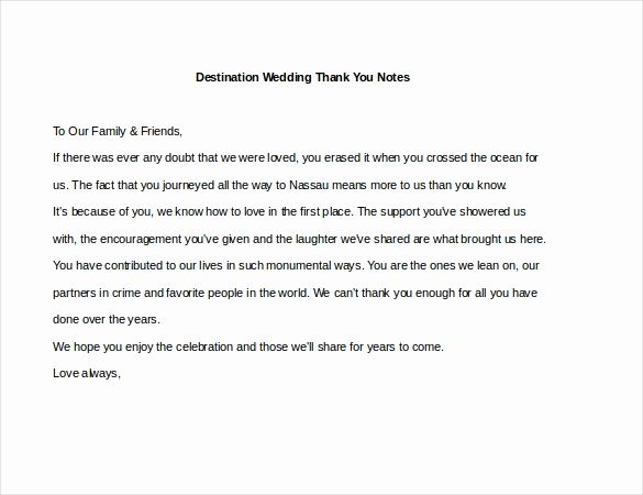 Wedding Thank You Template Unique 6 Wedding Thank You Notes – Free Sample Example format