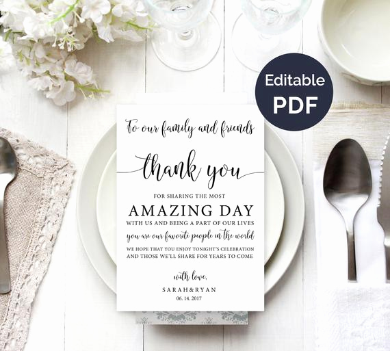 Wedding Thank You Template Unique Wedding Thank You Note Template Wedding Table Thank You