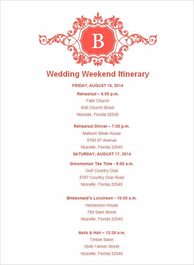 Wedding Weekend Itinerary Template Awesome 4 Sample Wedding Weekend Itinerary Templates Doc Pdf