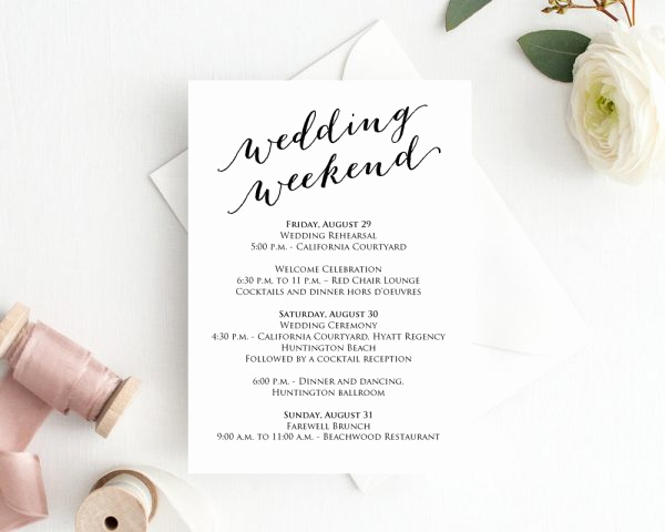 Wedding Weekend Itinerary Template Awesome Wedding Weekend Itinerary Template Wedding Weekend Timeline