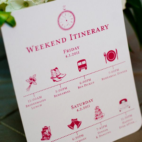 Wedding Weekend Itinerary Template Best Of Custom Wedding Itinerary Card Wedding