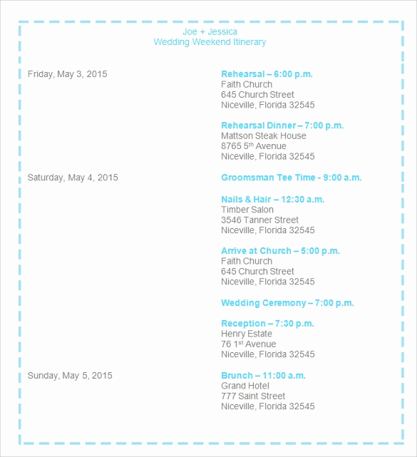 Wedding Weekend Itinerary Template Elegant Sample Wedding Weekend Itinerary Template 12 Documents