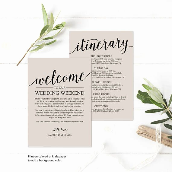 Wedding Weekend Itinerary Template Fresh Wedding Itinerary Template Printable Wedding Wel E