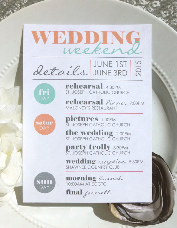 Wedding Weekend Itinerary Template Inspirational 44 Wedding Itinerary Templates Doc Pdf Psd