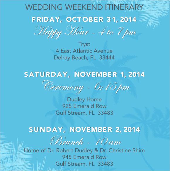 Wedding Weekend Itinerary Template Inspirational Wedding Itinerary Template 8 Download Documents In Pdf