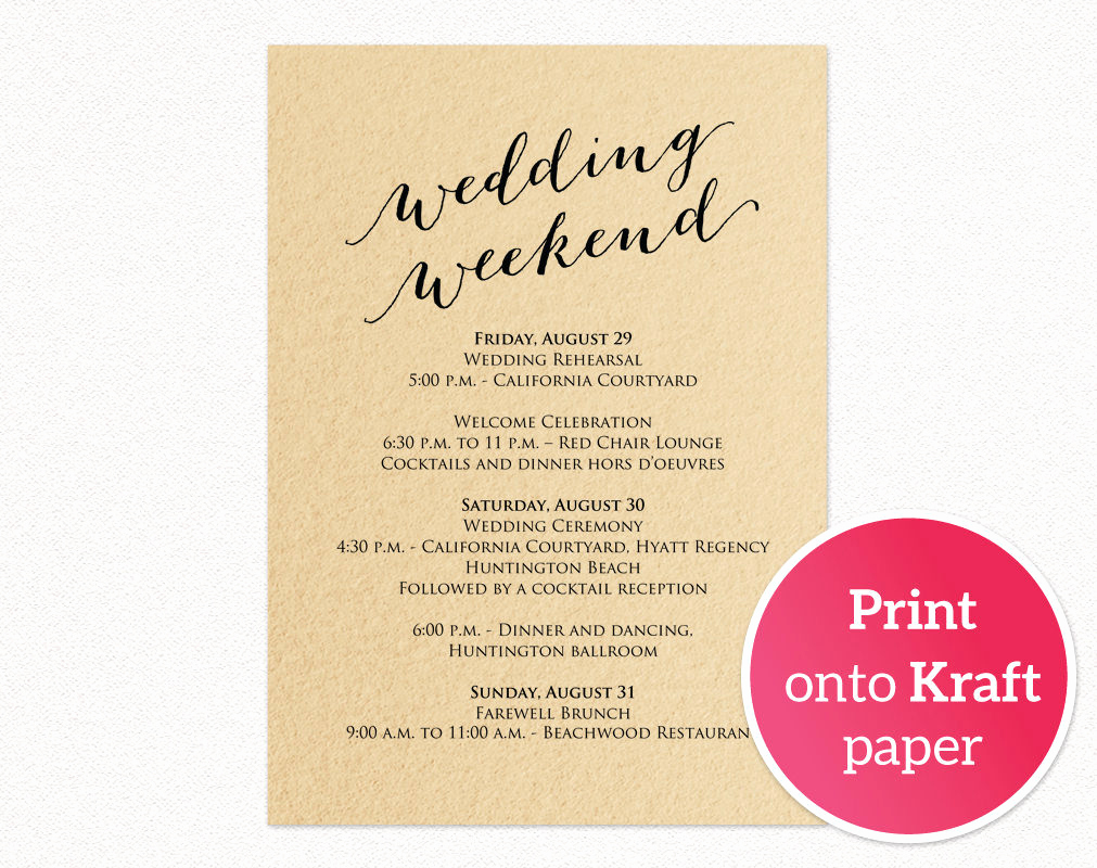 Wedding Weekend Itinerary Template Luxury Wedding Weekend Itinerary Card · Wedding Templates and