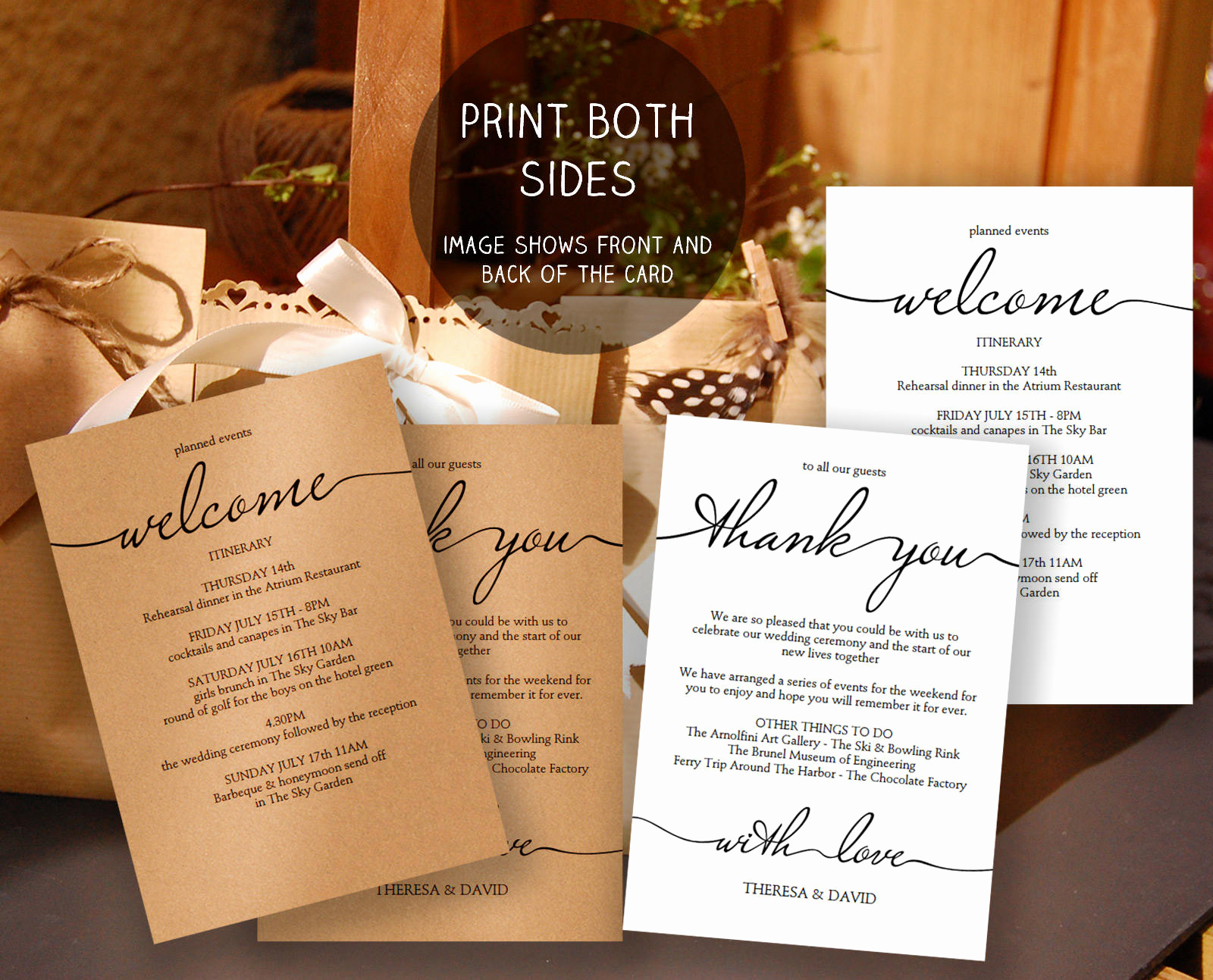 wedding itinerary template edit and