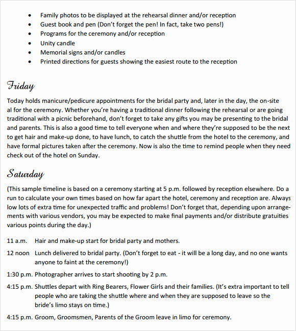 Wedding Weekend Itinerary Template Unique Sample Wedding Weekend Itinerary Template 12 Documents