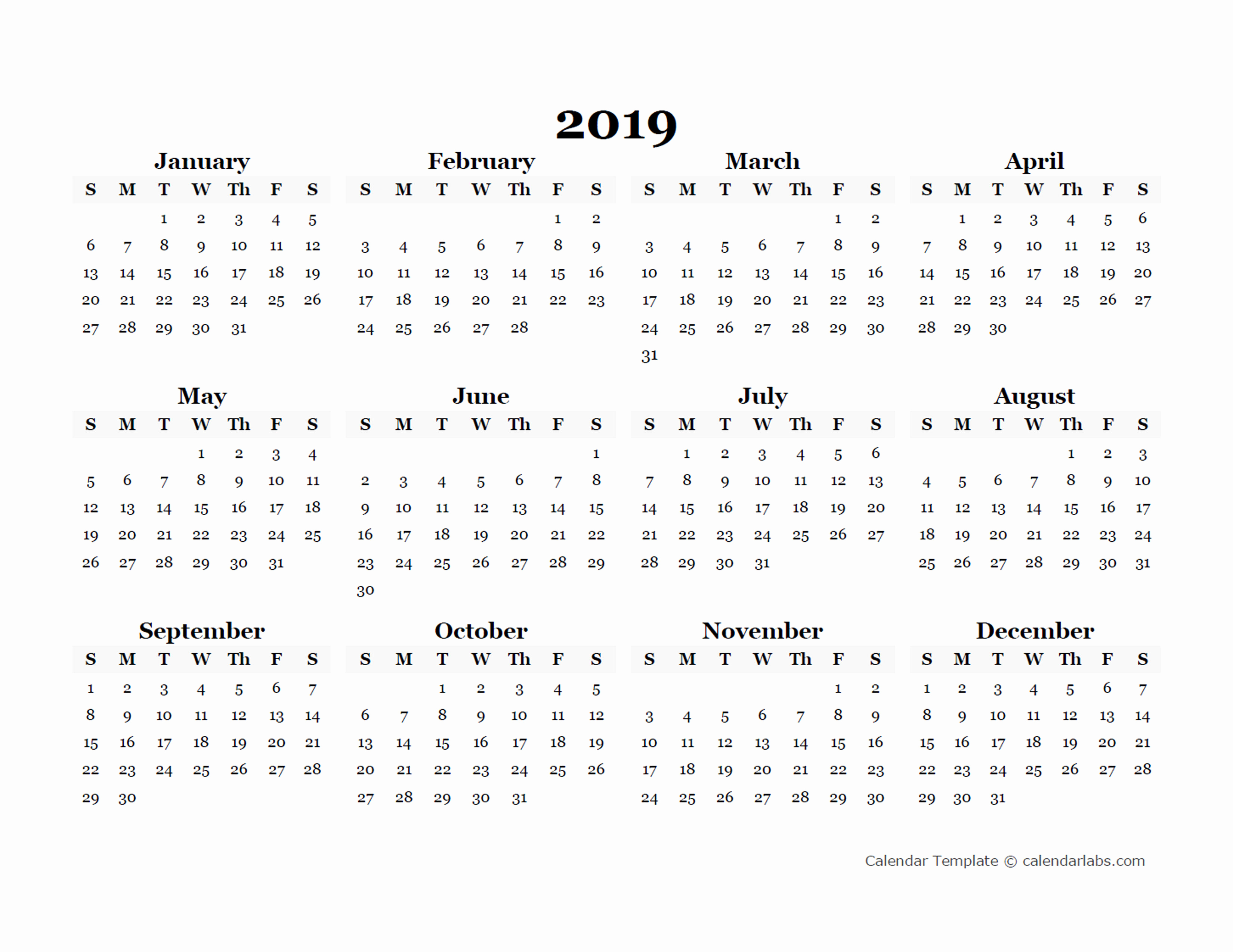 Weekly Calendar Template 2019 Awesome 2019 Yearly Blank Calendar Template Free Printable Templates