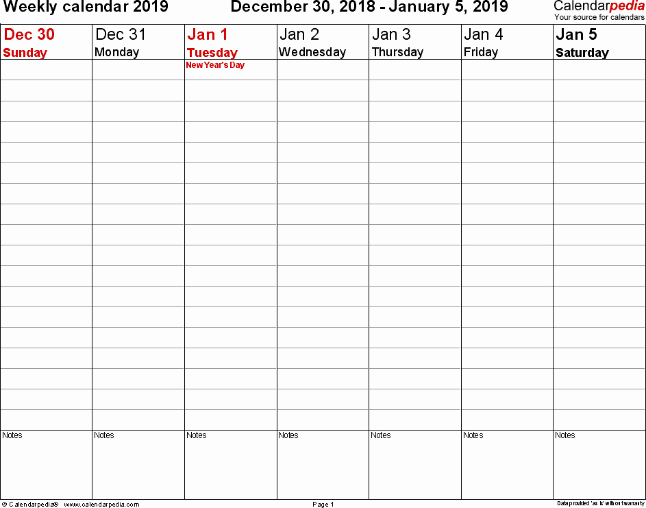 Weekly Calendar Template 2019 Best Of Weekly Calendar 2019 for Pdf 12 Free Printable Templates