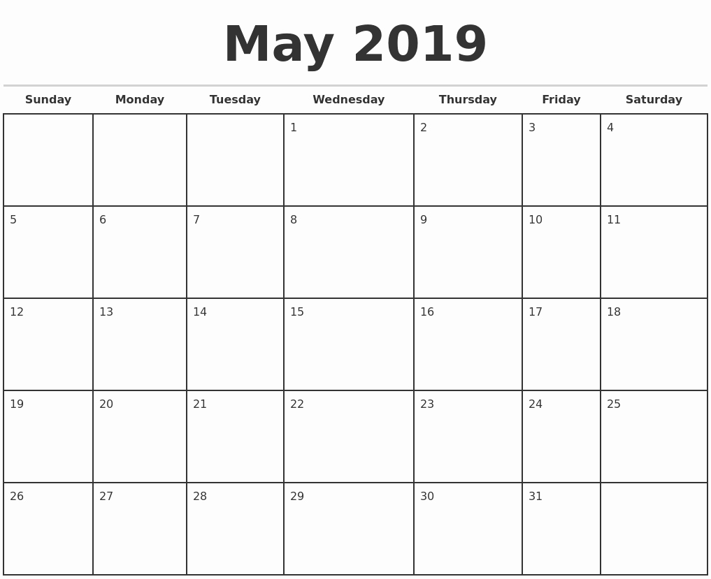 Weekly Calendar Template 2019 Elegant May 2019 Monthly Calendar Template