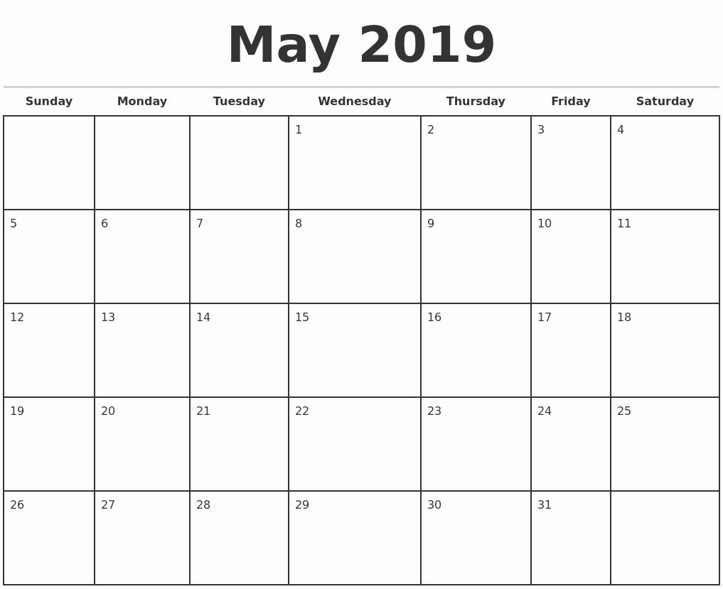 Weekly Calendar Template 2019 Elegant May 2019 Monthly Calendar Template