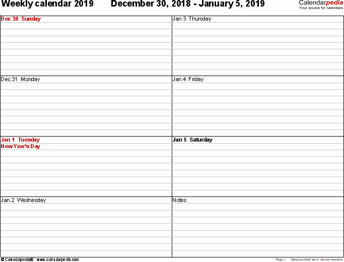 Weekly Calendar Template 2019 Fresh Weekly Calendar 2019 for Excel 12 Free Printable Templates
