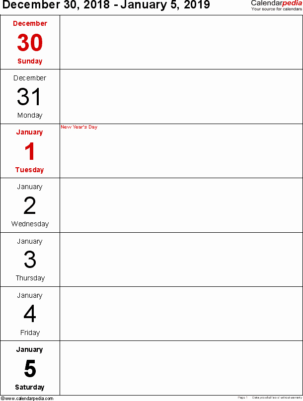 Weekly Calendar Template 2019 Inspirational Weekly Calendar 2019 for Word 12 Free Printable Templates