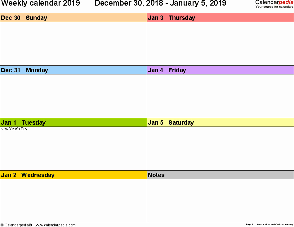 Weekly Calendar Template 2019 New Weekly Calendar 2019 for Pdf 12 Free Printable Templates