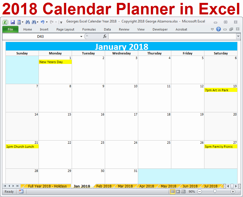 2018 excel calendar printable template spreadsheet yearly monthly