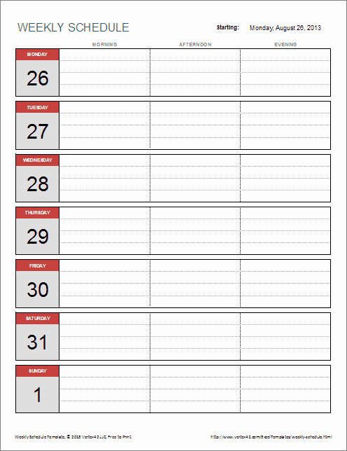 Weekly Calendar Template Excel Beautiful Free Weekly Schedule Template for Excel