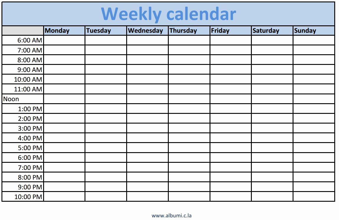 Weekly Calendar Template Excel Elegant 2016 Blank Calendar Calendar En