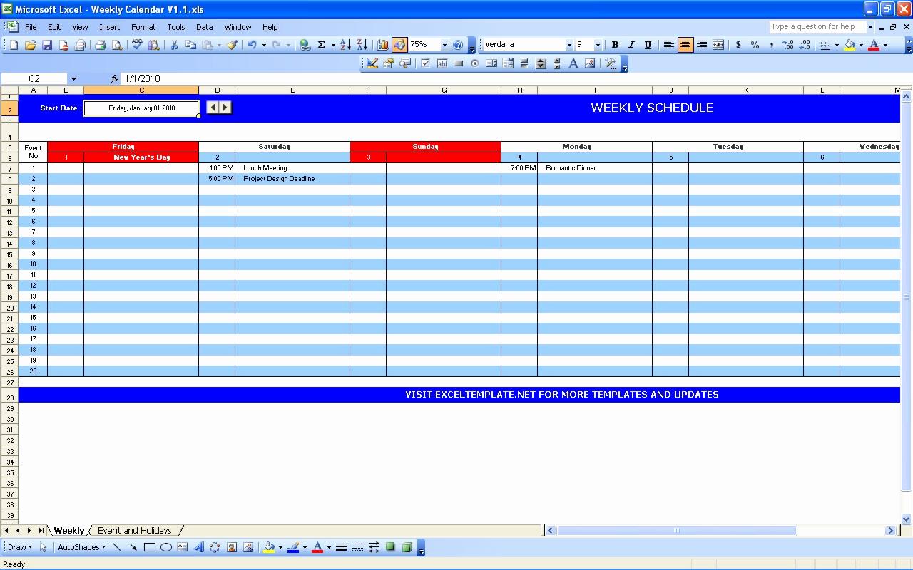 Weekly Calendar Template Excel Elegant Weekly Calendar
